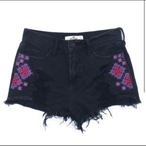 Black designed jean shorts